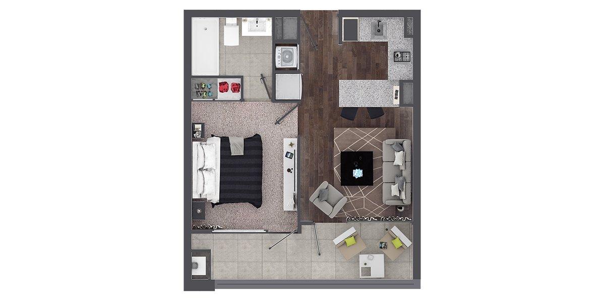 Departamento en Isla Teja - Valdivia 1 Dormitorio y 1 Baño-A1