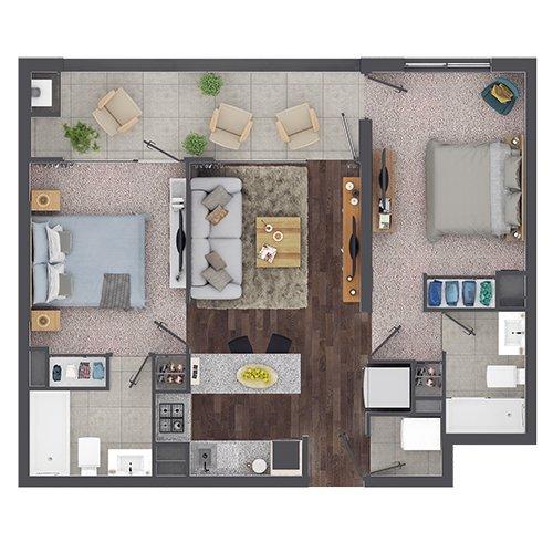 Departamento en Isla Teja - Valdivia 2 Dormitorio y 2 Baños-B2 Mariposa