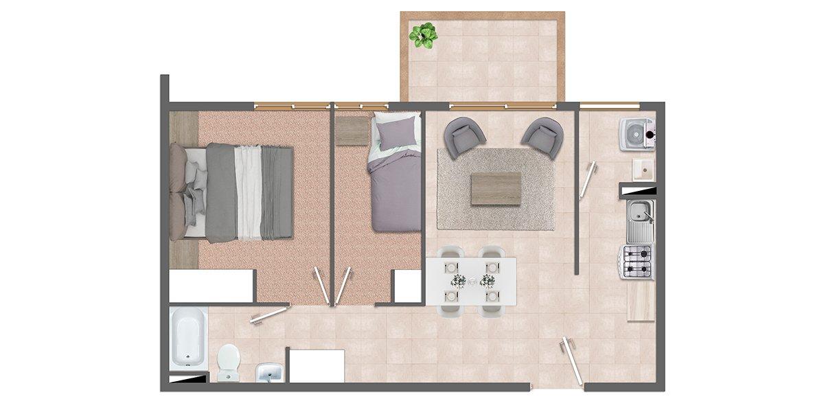 Departamento 2 dormitorios 1 baño. Condominio Vista San Miguel en Talca