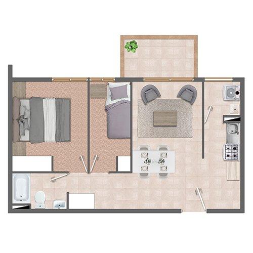 Departamento 2 dormitorios 1 baño. Condominio Vista San Miguel en Talca. Subsidio Automático DS19