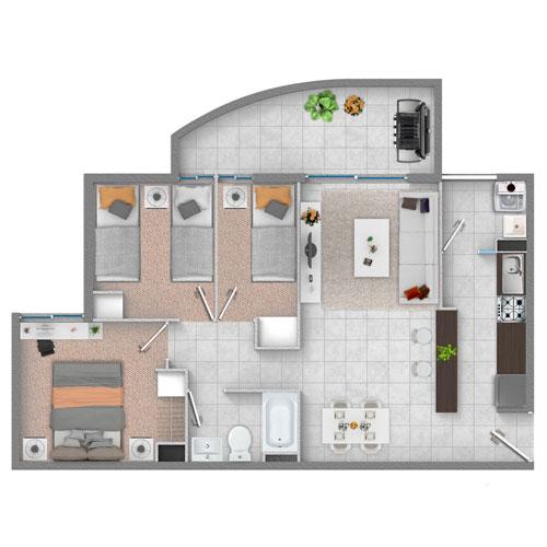 Departamento 3 dormitorios 1 baño, Departamentos en venta, subsidio Habitacional, subsidio ds49, subsidio ds19, subsidio ds01, Ovalle
