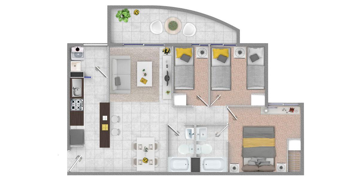 Departamento 3 dormitorios 2 baños, Departamentos en venta, subsidio Habitacional, subsidio ds19, subsidio ds01, Ovalle